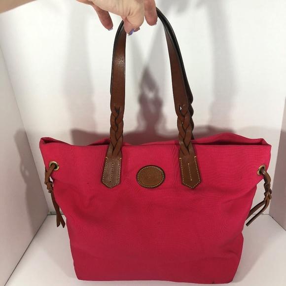 Dooney & Bourke Handbags - Dooney & Bourke Shopper Fuchsia Pink Canvas Tote